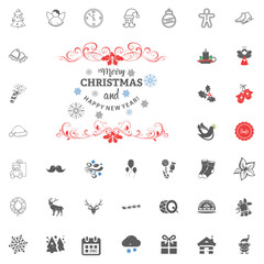 Merry Christmas and Happy New Year icon. Vector illustration.