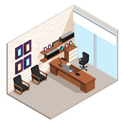 the boss's office, interior of office space, large desk