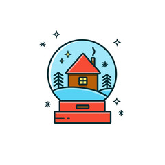 Glass snow globe with house and winter landscape. Snow ball flat color line icon - Christmas decoration or gift. Waterglobe vector illustration - transparent sphere, New Year giveaway or toy.