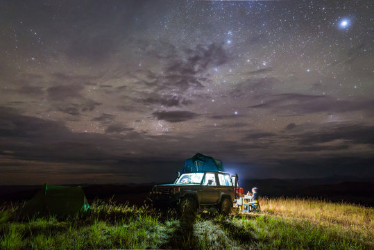 Camping site on top of a hill with starry night in Gran Sabana region, Venezuela