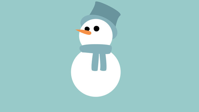 cute friendly looking snowman graphic blue