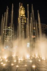 Fountain Blasts Upward as Custom House Tower Looms