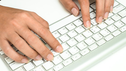 Sticker - keyboard with hand on white background