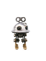 Steampunk robot, steel and chrome details, isolated on white background
