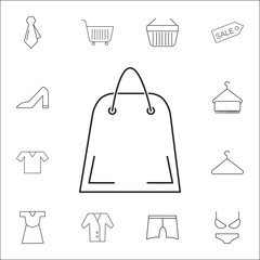 shopping bag icon. Shopping element. Premium quality graphic design. Signs, outline symbols collection, simple thin line icon for websites, web design, mobile app, info graphics