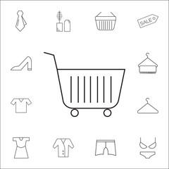 Shopping Cart Icon. Shopping element. Premium quality graphic design. Signs, outline symbols collection, simple thin line icon for websites, web design, mobile app, info graphics