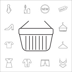 shopping basket icon. Shopping element. Premium quality graphic design. Signs, outline symbols collection, simple thin line icon for websites, web design, mobile app, info graphics