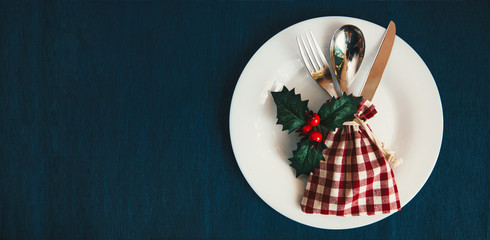 Christmas table setting, December Holidays dinner serving,New Year party,Web site banner