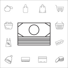 money Icon. Set of Shopping element. Premium quality graphic design. Signs, outline symbols collection, simple thin line icon for websites, web design, mobile app, info graphics