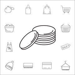 Coins stack icon. Set of Shopping element. Premium quality graphic design. Signs, outline symbols collection, simple thin line icon for websites, web design, mobile app, info graphics