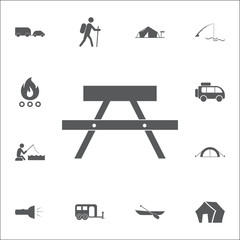 Table icon. Set of camping icons