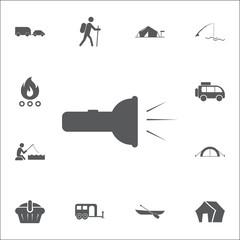 Flashlight ico. Set of camping icons