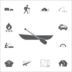 Boat with paddle icon. Set of camping icons