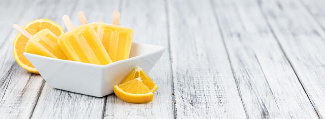 Some homemade orange popsicles