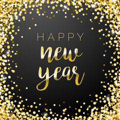 Happy New Year Square Gold Sparkle Illustration 2