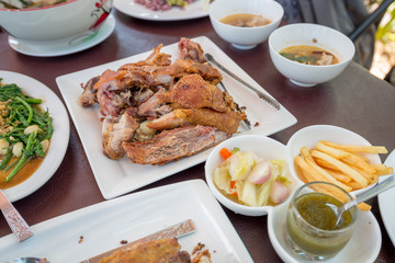 German Pork Hocks, Deep fried with French Fries and Appetizer by Thai Style