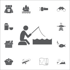 fishing icon. Set of camping icons