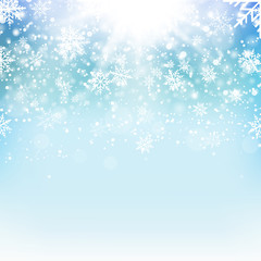 Christmas and New Year blue background with falling gold snowflakes. Vector