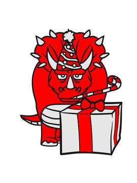 geburtstag weihnachten geschenke party feiern spaß hut mütze überraschung hörner triceratops groß comic cartoon dinosaurier saurier dino