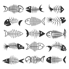 Fish bones isolated on white background. Fishbone silhouettes vector illustration