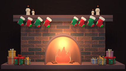 Cartoon Christmas fireplace decorated with stockings, candles and gift boxes. 3d rendering picture.