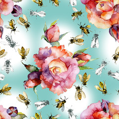 Beautiful, red roses and honey, summer bees. Watercolor. Illustration