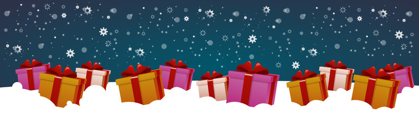 Present Boxes In Snow Winter Holidays Decoration Design Horizontal Banner Flat Vector Illustration