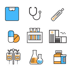 Medical Icon Set Thin Line Medicine Equipment Sign On White Background Hospital Treatment Concept Vector Illustration