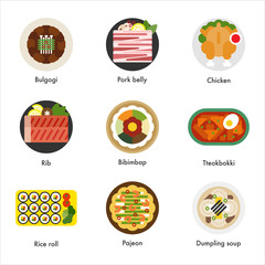 Kind of Korean traditional food vector flat design illustration set