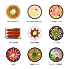 Kind of Korea traditional food dishes vector flat design illustration set