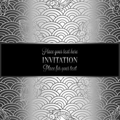 Vector abstract wavy invitation card with geometrical fish scale layout. Silver grey tracery on a dark black background. Fan shaped stylized ocean waves. Fish scales with decorative flowers