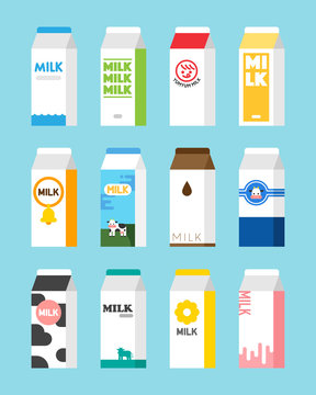 milk carton object package design vector flat design illustration set