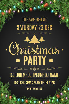 Luxury poster for a Christmas party. Christmas tree on a black background. Celebratory background. Gold text with description. Multicolored luminous garland. Vector