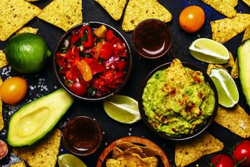 Tex-Mex Concept, Nachos, Guacamole, Salsa Sauce, Food Background, Top View