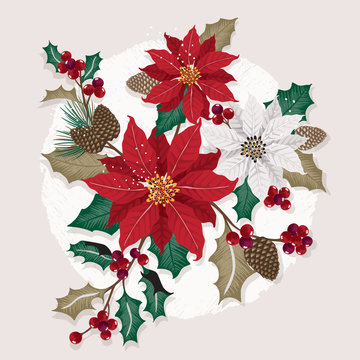 Vector illustration of a beautiful floral bouquet in winter for Happy New Year and Merry Christmas cards. Design for banner, poster, card, invitation and scrapbook