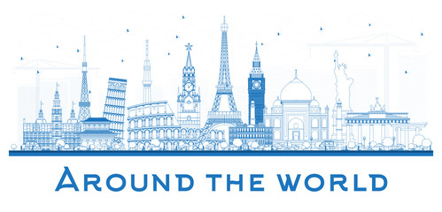 Around the World OutlineTravel Concept with Famous International Landmarks.