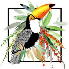 Foto op Plexiglas Toekan toucan bird and tropical plant