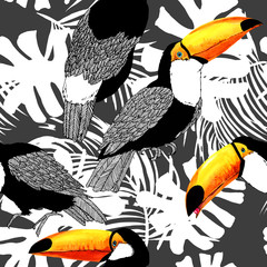 Seamless pattern with tropical bird toucan.