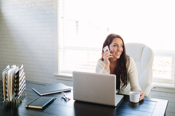 Business woman working from home on the phone with laptop