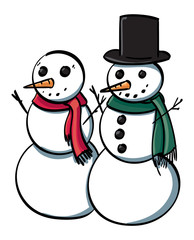 Two Snowmen with scarves.