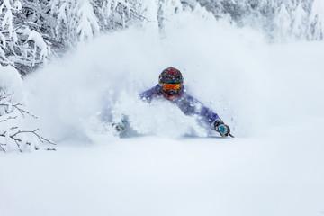 Fototapete - Powder day in Carpathian mountains. Great skiing.