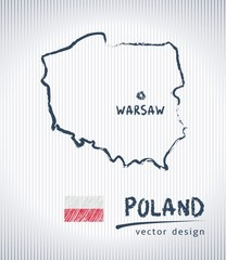 Poland national vector drawing map on white background