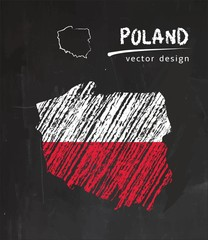 Poland map with flag inside on the blackboard. Chalk sketch vector illustration
