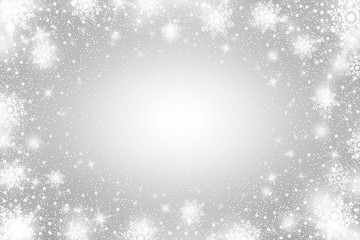 Snow frost Effect . Abstract bright white shimmer lights and snowflakes. Glowing blizzard. Scatter falling round particles.
