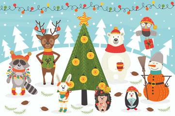 Christmas characters around the Christmas tree - vector illustration, eps