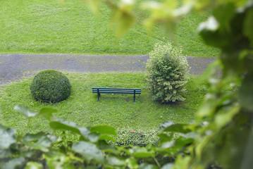 Blick von erhöhtem Standpunkt auf eine grüne Sitzbank zwischen zwei Büschen in einem grünen Park