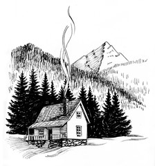 Cabin in the mountains. Black and white ink drawing