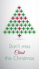 Christmas tree and cross concept card or phone wallpaper