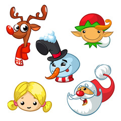 Set of cartoon Christmas characters. Vector cartoon head icons of Santa Claus, reindeer, elf, snowman and angel