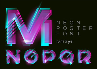 Vector Neon Typeset. Shining Pink Letters. Fluorescent Glitch Effect. Vibrant Blue, Purple Colors. Bright Retro Font for Music Fest, Night Club Invitation, Sale Banner, Creative Poster. Isolated.